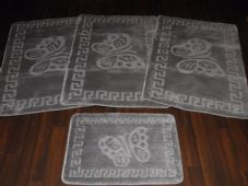 ROMANY WASHABLES TRAVELLER MATS SET NON SLIP SUPER THICK SILVER/GREY BUTTERFLY